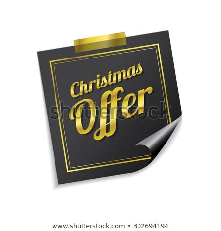 Christmas bieden gouden sticky notes vector icon Stockfoto © rizwanali3d