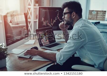 Nadenkend jonge zakenman kantoor man Stockfoto © wavebreak_media