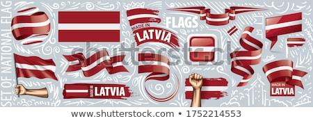 Letland land vlag kaart vorm tekst Stockfoto © tony4urban