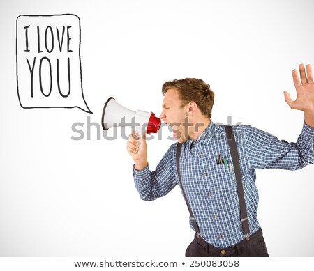 Composite image of angry hipster shouting Stock photo © wavebreak_media