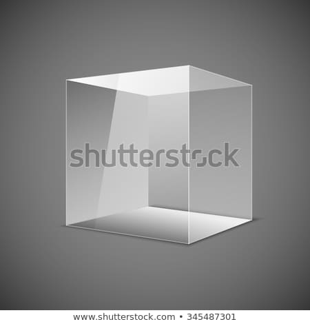 Stock photo: Abstract transparent box on grey background. EPS 10.