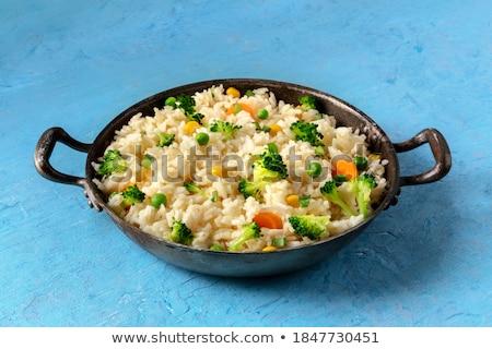 приготовленный риса брокколи пластина белый продовольствие Сток-фото © Digifoodstock
