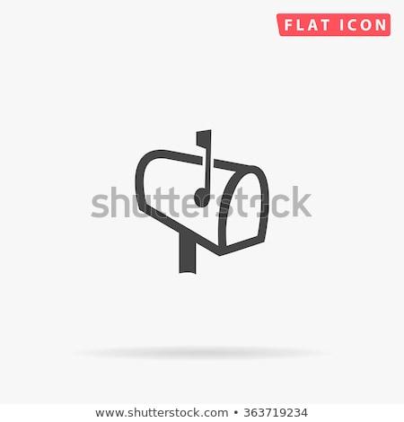 Iconen mailbox illustratie witte achtergrond Blauw Stockfoto © bluering