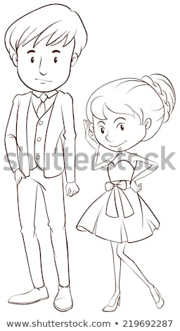 A simple sketch of a couple in formal attire Stock photo © bluering