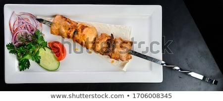 鶏の胸肉 生 木製 まな板 肉 ストックフォト © Digifoodstock