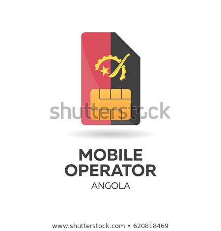 angola mobile operator sim card with flag vector illustration stock photo © leo_edition