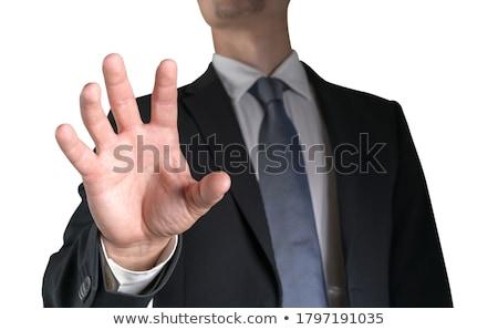 молодые бизнесмен невидимый интерфейс белый синий Сток-фото © wavebreak_media