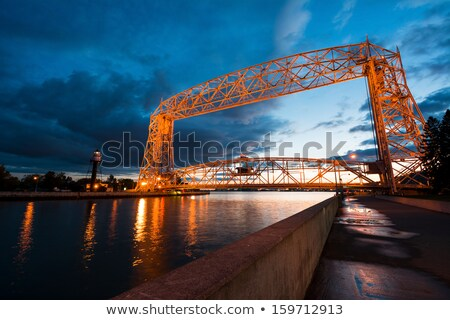 lighthouse and bridge in duluth stock photo © benkrut