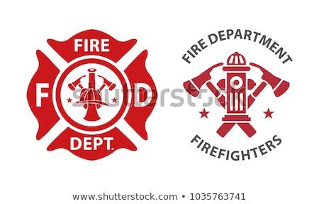 Elemek tűzoltók fekete ikon lineáris stílus Stock fotó © Olena