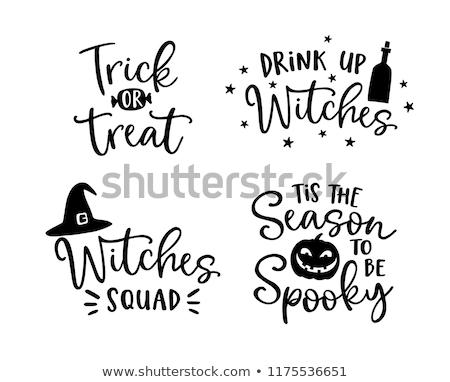 Astuce halloween carte postale design citrouille Photo stock © Sonya_illustrations