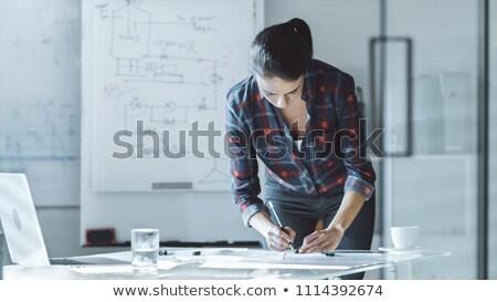 Masculino arquiteto parede engenheiro escala Foto stock © wavebreak_media