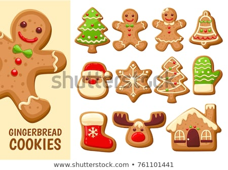 christmas tree and homemade christmas cookies stock photo © nito