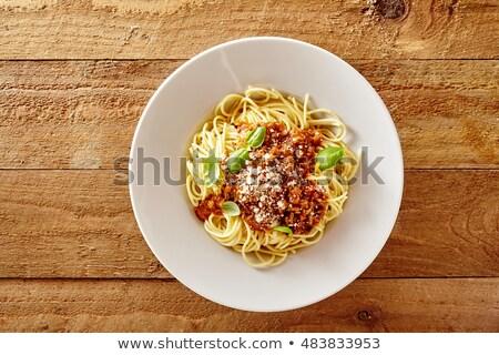 пластина спагетти соус продовольствие яйцо фон Сток-фото © M-studio