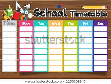 Harmonogram studentów tabeli lekcje dzieci przestrzeni Zdjęcia stock © popaukropa