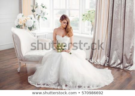 Resting brunette bride stock photo © lubavnel