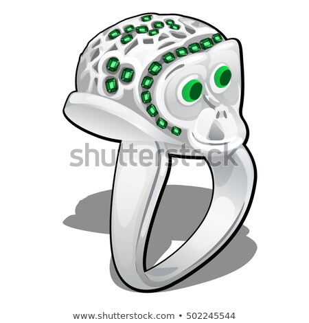 Exclusive ring made of white gold with inlaid green emerald heart shaped isolated on white backgroun Stock photo © Lady-Luck