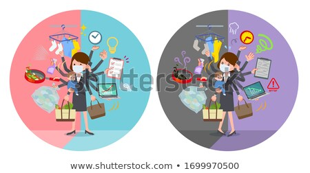 A set of women who perform multitasking in the office.There are Stock photo © toyotoyo