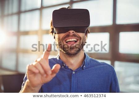 Foto stock: Feliz · hombre · virtual · realidad · auricular · oficina