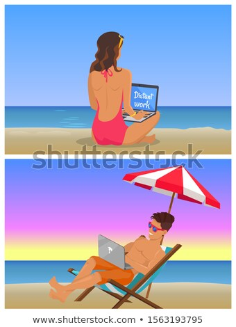 Young Girl and Guy at Beach do Distant Work Set Stock photo © robuart