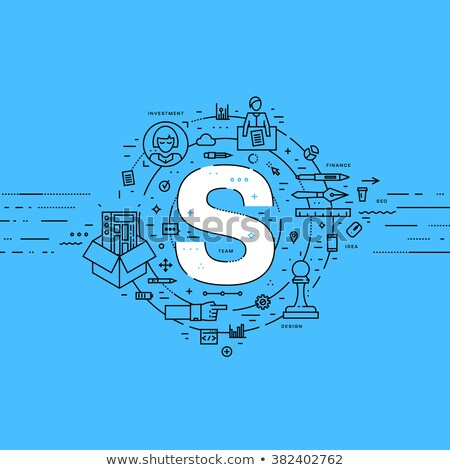 Project experience concept. Flat style, thin line art design. Set of application development, web si Stock photo © makyzz