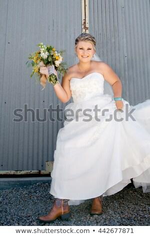 beautiful woman in turquoise corrugated dress stock photo © acidgrey