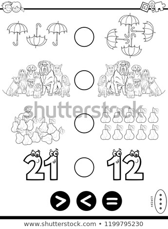 greater less or equal puzzle for kids color book Stock photo © izakowski