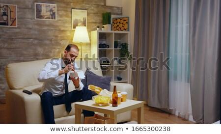 男 食べ 麺 肖像 笑みを浮かべて レストラン ストックフォト © Kzenon