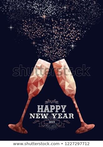 Boldog új évet réz alacsony üdvözlőlap luxus üveg Stock fotó © cienpies