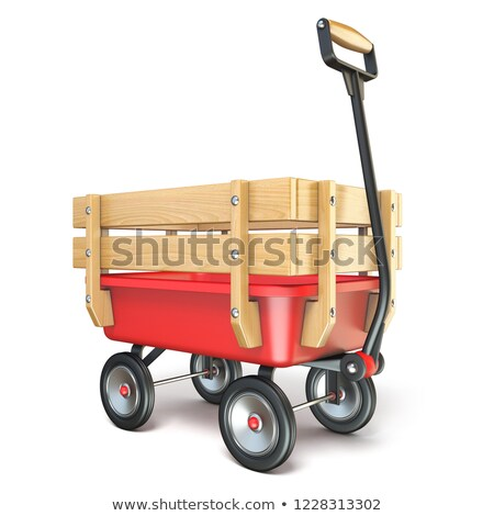 Toy mini wagon with wooden side fence Perspective 3D Stock photo © djmilic
