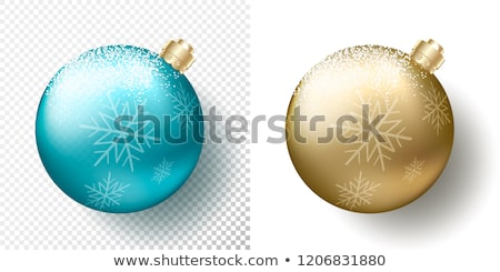Stock photo: Blue Christmas ball. Xmas glass ball on transparent background. Holiday decoration template. Vector