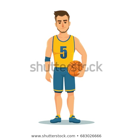Rajz mosolyog kosárlabdázó férfi kosárlabda labda Stock fotó © cthoman