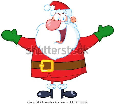 jolly santa claus cartoon mascot character with open arms and gifts boxes stock photo © hittoon