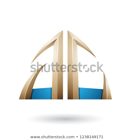Blue and Beige Arrow Shaped Letter A Vector Illustration Stock photo © cidepix
