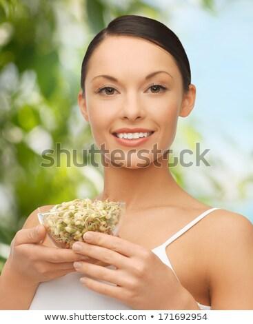 Boldog karcsú nő bab diéta egészséges étkezés Stock fotó © dolgachov