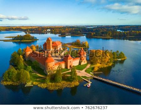 Foto stock: Castelo · tijolo · paredes · ilha · Lituânia · céu