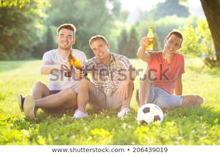 friends drinking non alcoholic beer at summer park Stock photo © dolgachov