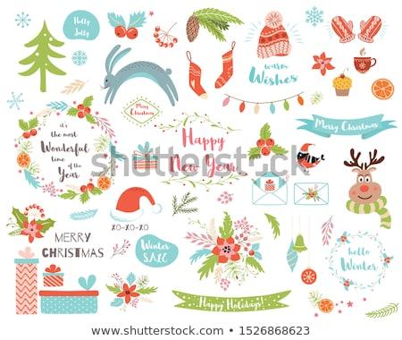 Clipart conigli felice vacanze carte gioioso Foto d'archivio © robuart
