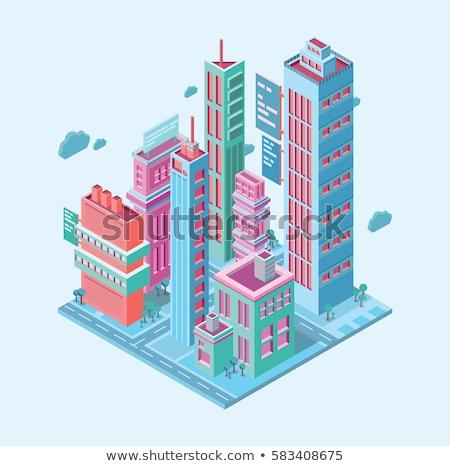 vector · isometrische · stad · smartphone · scherm · laag - stockfoto © decorwithme