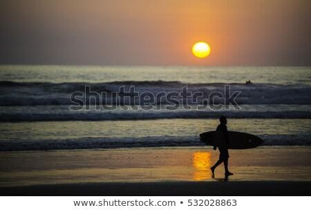 surfista · viendo · olas · puesta · de · sol · Portugal · agua - foto stock © lopolo