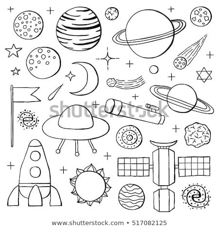 satélite · antena · dibujado · a · mano · garabato · icono - foto stock © rastudio