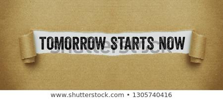 Rasgado papel pardo palavras amanhã agora dinheiro Foto stock © Zerbor