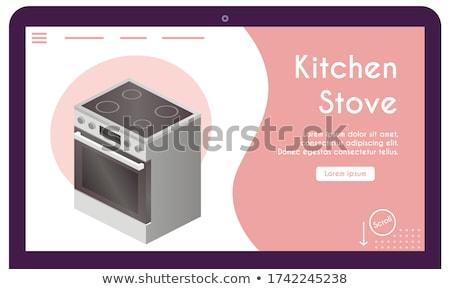 Домашняя кухня посадка страница крошечный люди семьи Сток-фото © RAStudio