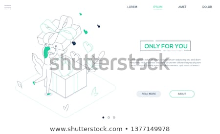 Valentines Day - line design style isometric web banner Stock photo © Decorwithme