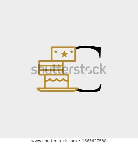 Letra c bolo branco papel arte leitura Foto stock © colematt