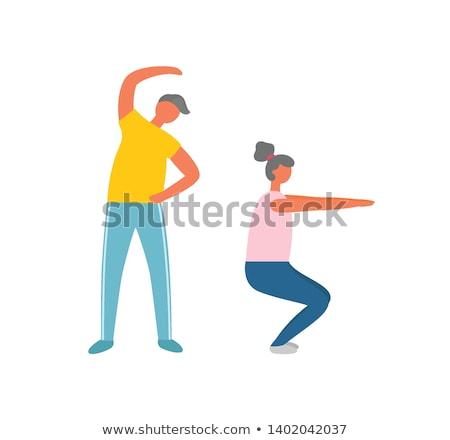 Reggel testmozgás görbület sport férfi nő Stock fotó © robuart