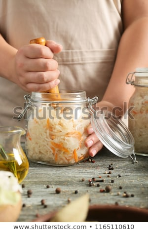 Házi készítésű savanyú káposzta káposzta szelektív fókusz étel üveg Stock fotó © furmanphoto