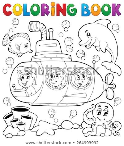 Kleurboek meisje dolfijn boek gelukkig kind Stockfoto © clairev