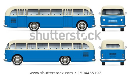 ストックフォト: 古い · 青 · バス · ベクトル · レトロな