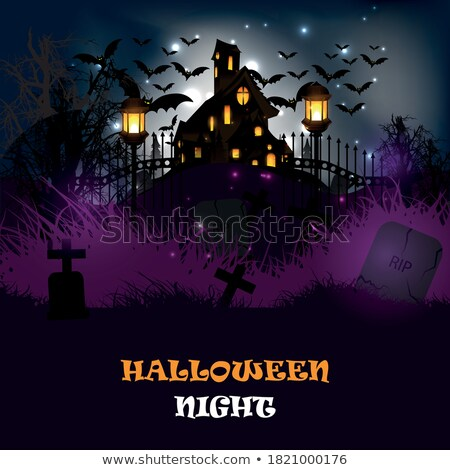 happy halloween scary hounted house background design Stock photo © SArts