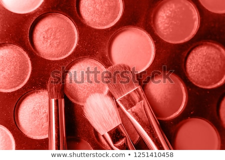 Eyeshadow palette and make-up brush on coral background, eye sha Stock photo © Anneleven
